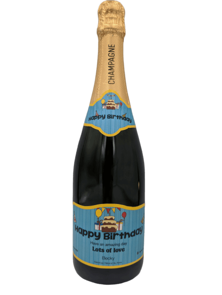 "alt=""Happy birthday personalised champagne bottle, perfect unique gift for all occasions, with customised wine present label"""
