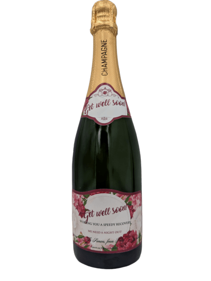 Personalised Champagne Get Well Soon Gift UK Delivered Birthday Anniversay Proposal Graduation Hen