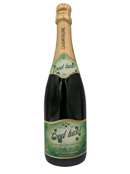 "alt=""Good luck personalised champagne bottle, perfect unique gift for all occasions, with customised wine present label"""