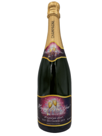 "alt=""Happy new year personalised champagne bottle, perfect unique gift for all occasions, with customised wine present label"""