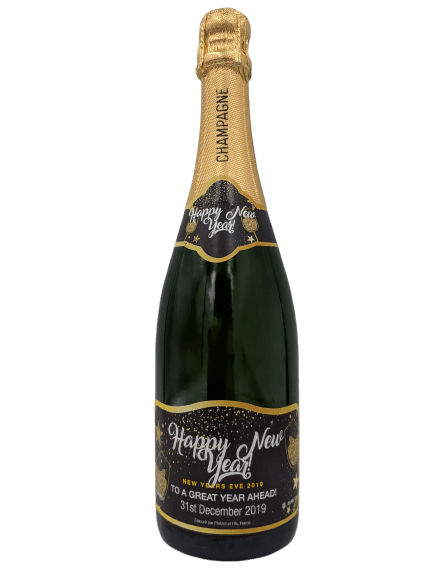 """alt=""""Happy new year personalised champagne bottle, perfect unique gift for all occasions, with customised wine present label"""""""