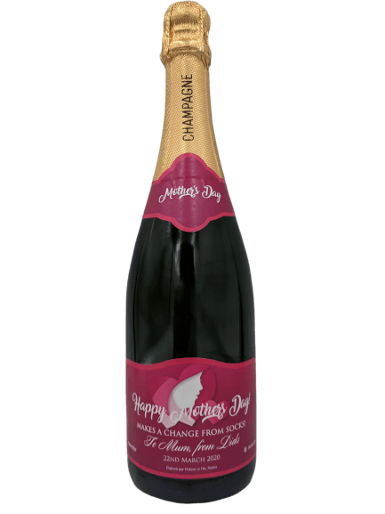 """alt=""""Mother's day personalised champagne bottle, perfect unique gift for all occasions, with customised wine present label"""""""