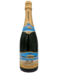 "alt=""Retirement personalised champagne bottle, perfect unique gift for all occasions, with customised wine present label"""