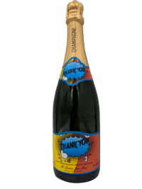 "alt=""Thank You personalised champagne bottle, perfect unique gift for all occasions, with customised wine present label"""