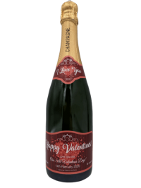 "alt=""Valentines personalised champagne bottle, perfect unique gift for all occasions, with customised wine present label"""