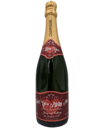 "alt=""Proposal personalised champagne bottle, perfect unique gift for all occasions, with customised wine present label"""