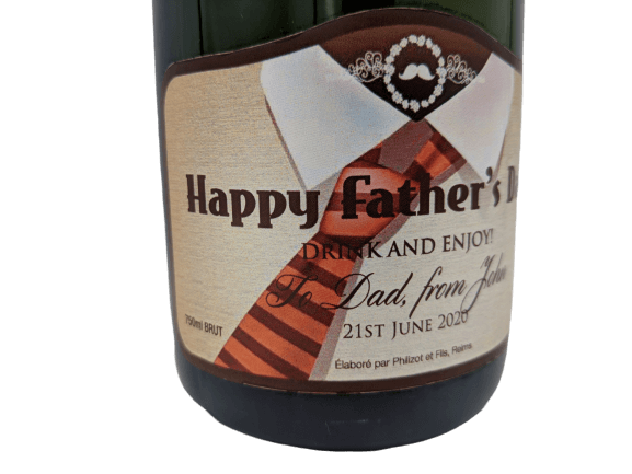 """alt=""""Father's day personalised champagne bottle, perfect unique gift for all occasions, with customised wine present label"""""""