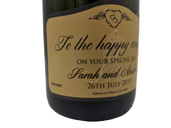 "alt=""Wedding personalised champagne bottle, perfect unique gift for all occasions, with customised wine present label"""