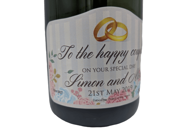 "alt=""Valentine's personalised champagne bottle, perfect unique gift for all occasions, with customised wine present label"""