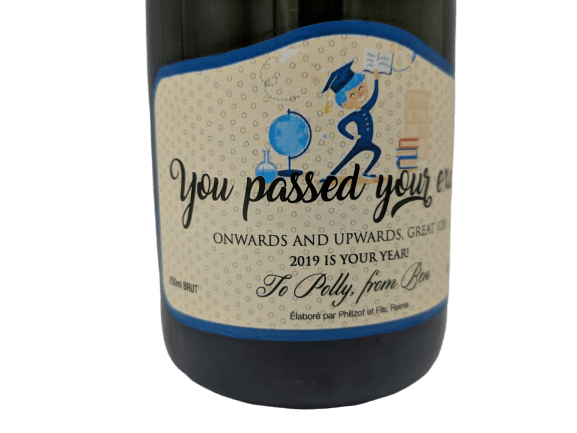 Personalised Champagne Passed Exam UK Delivered Birthday Anniversay Proposal Graduation Hen Party
