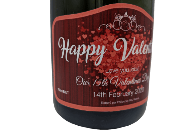 """alt=""""Valentine's personalised champagne bottle, perfect unique gift for all occasions, with customised wine present label"""""""