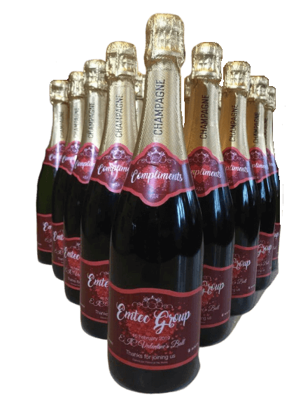 """alt=""""Happy birthday personalised champagne bottle, perfect unique gift for all occasions, with customised wine present label"""""""