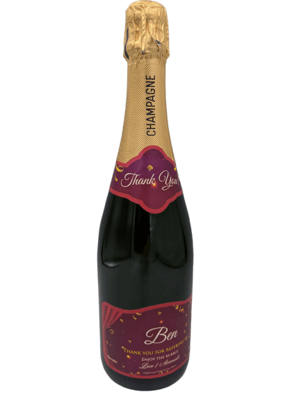 """alt=""""Thank you personalised champagne bottle, perfect unique gift for all occasions, with customised wine present label"""""""