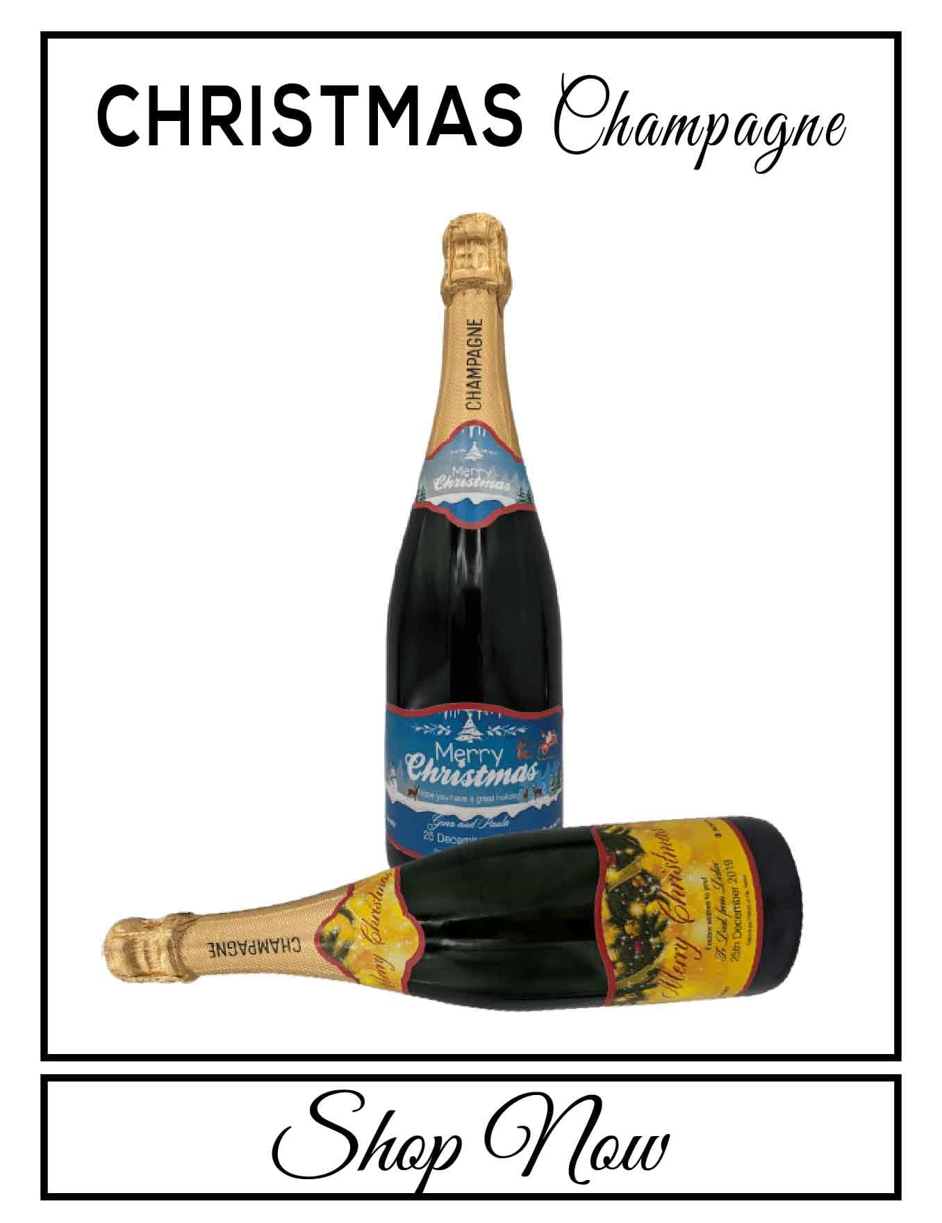 personalised Champagne customised bottle label delivery uk sparkling wine Christmas gift present bespoke unique