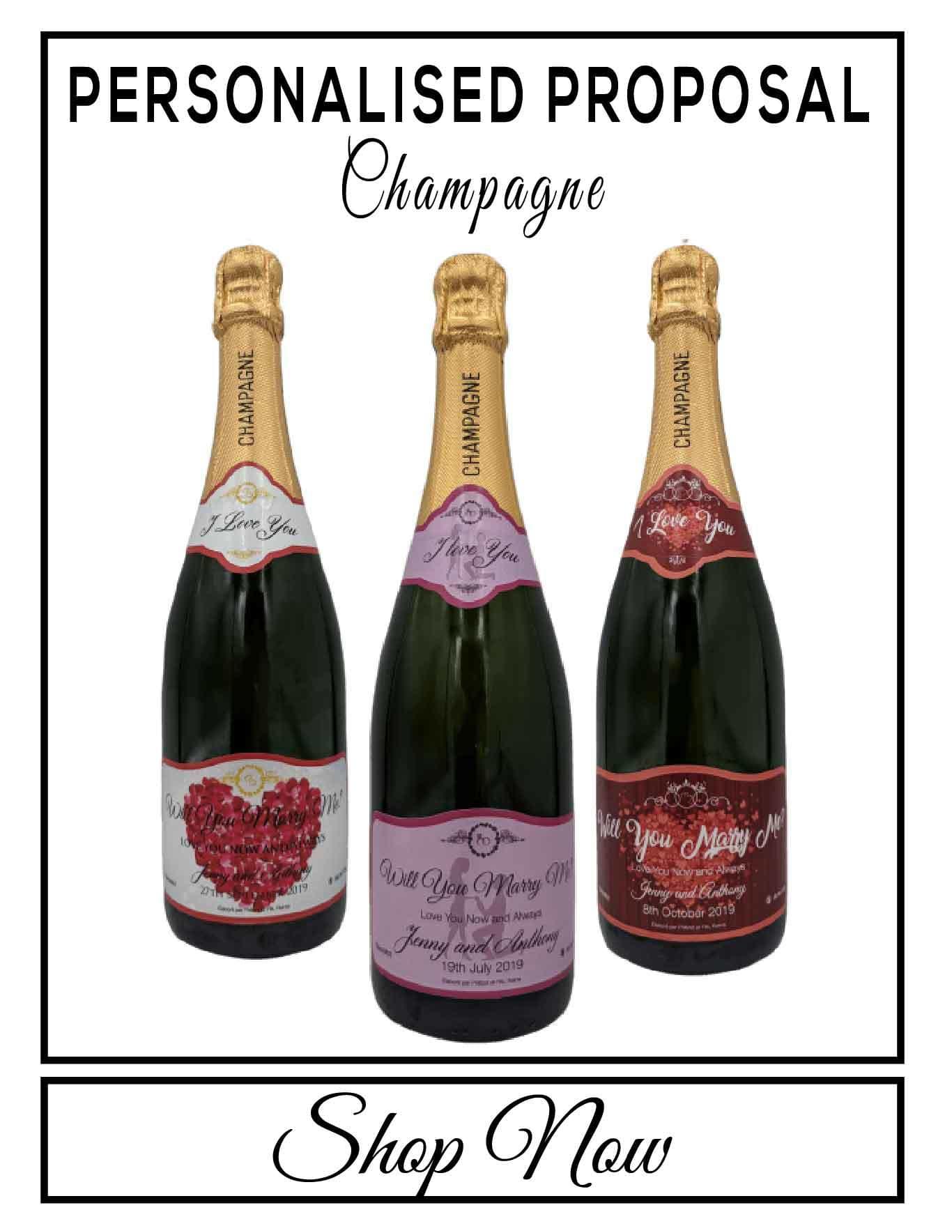 personalised Champagne customised bottle label delivery uk sparkling wine engagement engaged gift present bespoke unique