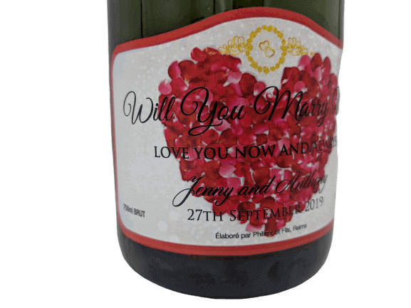 personalised Champagne customised bottle label delivery uk sparkling wine anniversary gift present bespoke unique design