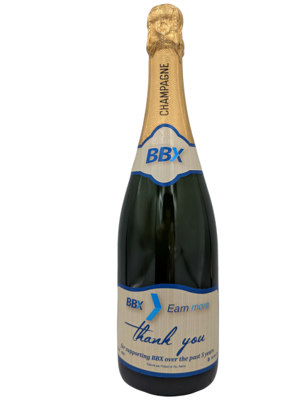 personalised champagne wedding birthday sparkling wine bespoke corporate design