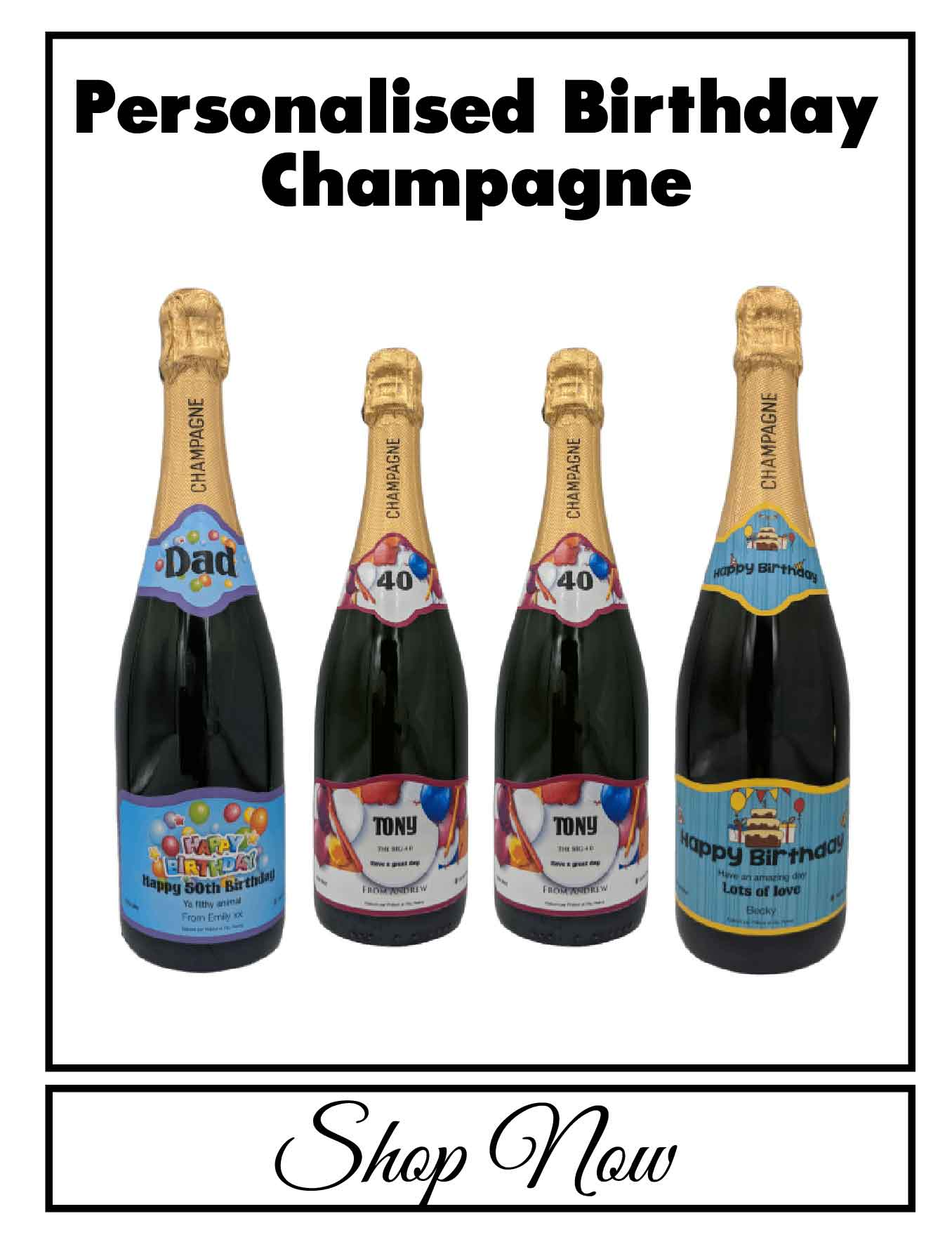 personalised Champagne customised bottle label delivery uk sparkling wine birthday gift present bespoke unique