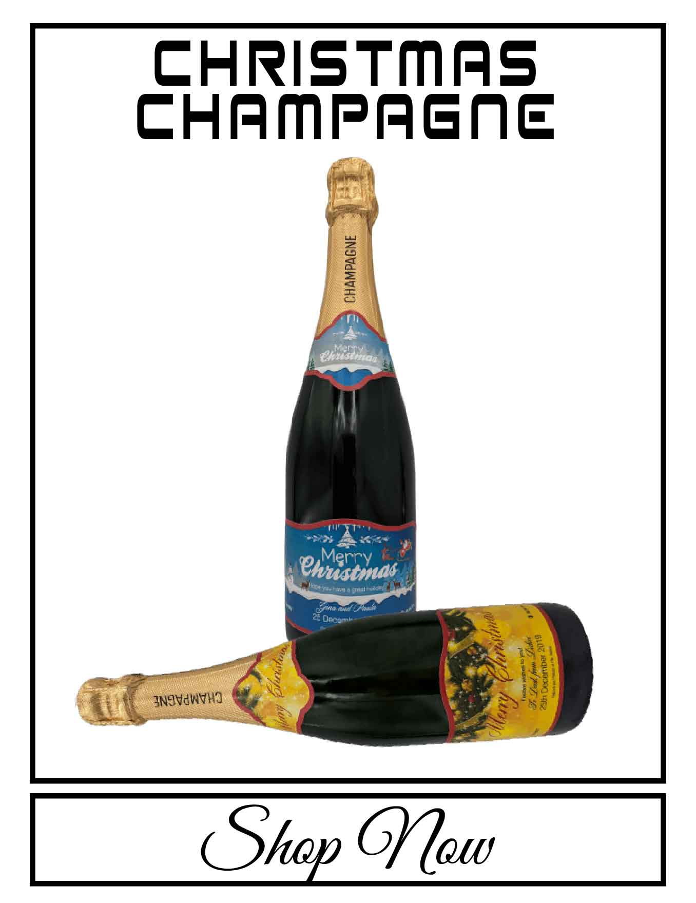 personalised Champagne bottle label delivery uk sparkling wine christmas gift present