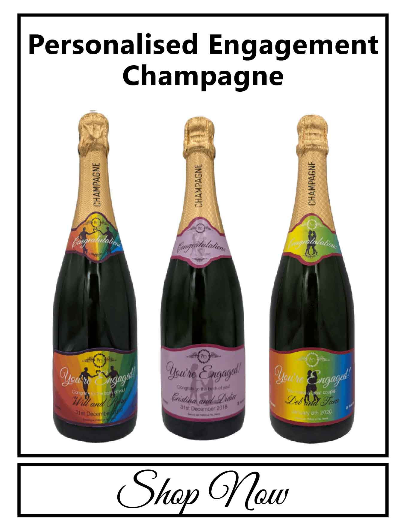 personalised Champagne bottle label delivery uk sparkling wine engagement gift present