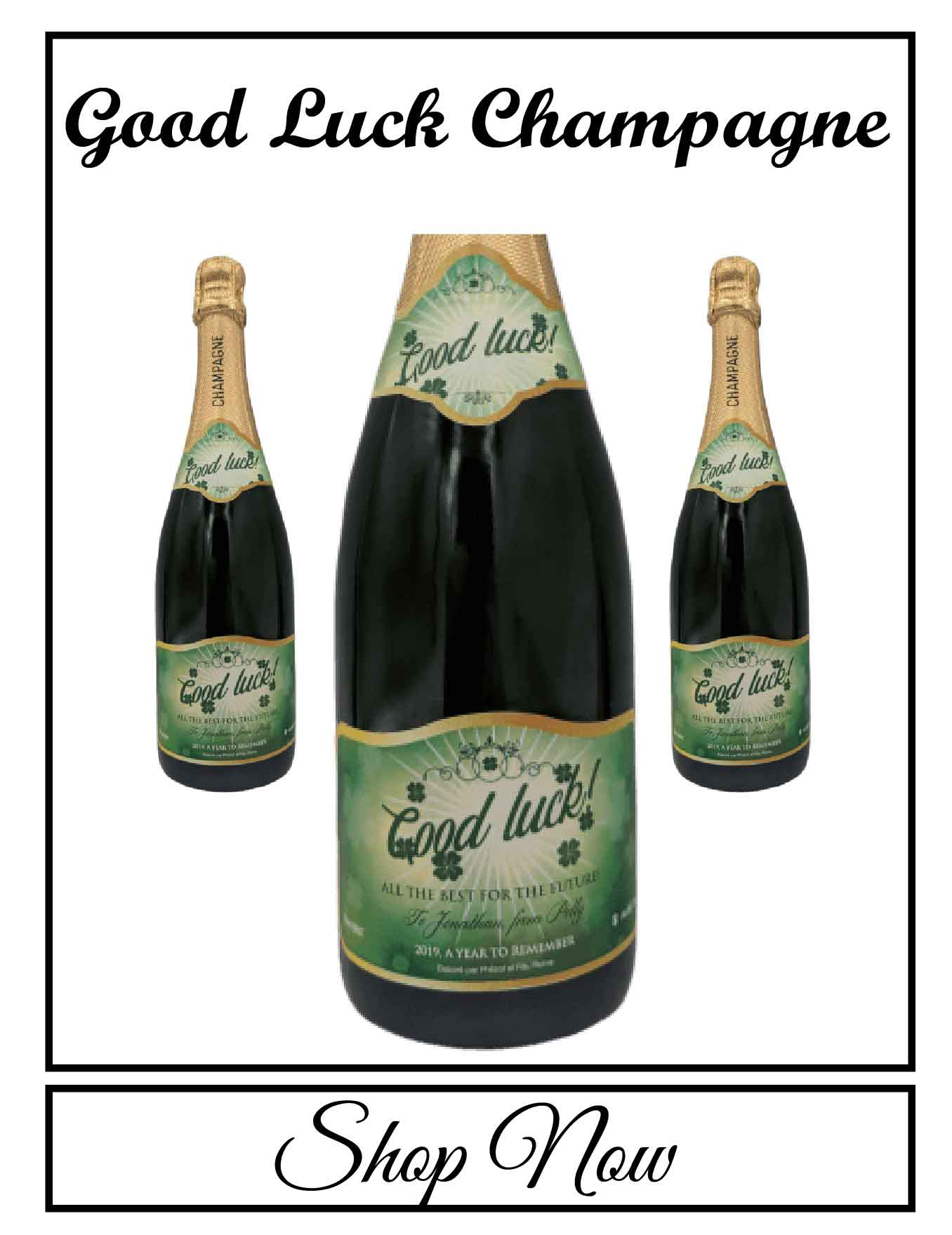 personalised Champagne bottle label delivery uk sparkling wine good luck gift present