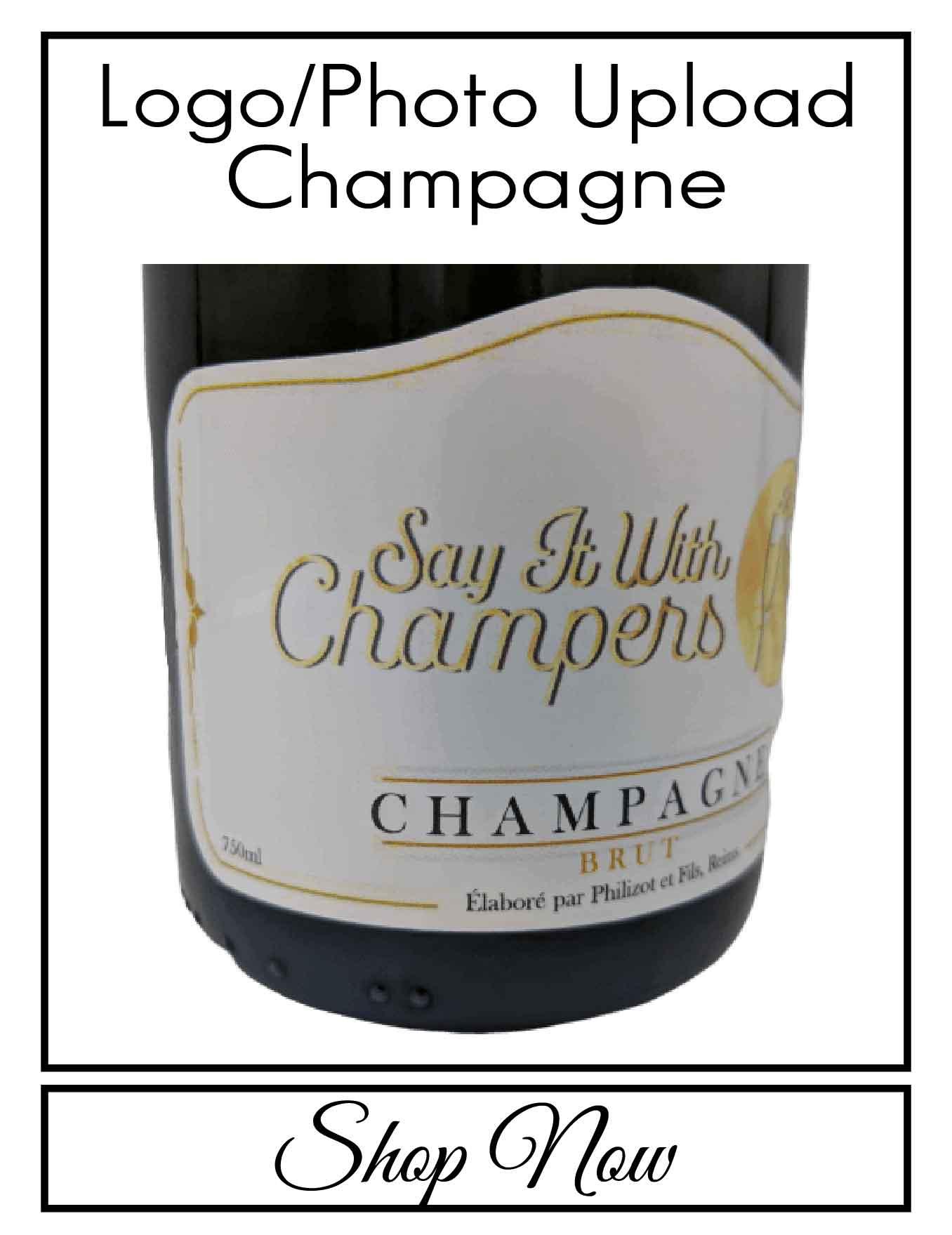 personalised Champagne bottle label delivery uk sparkling winelogo photo gift present