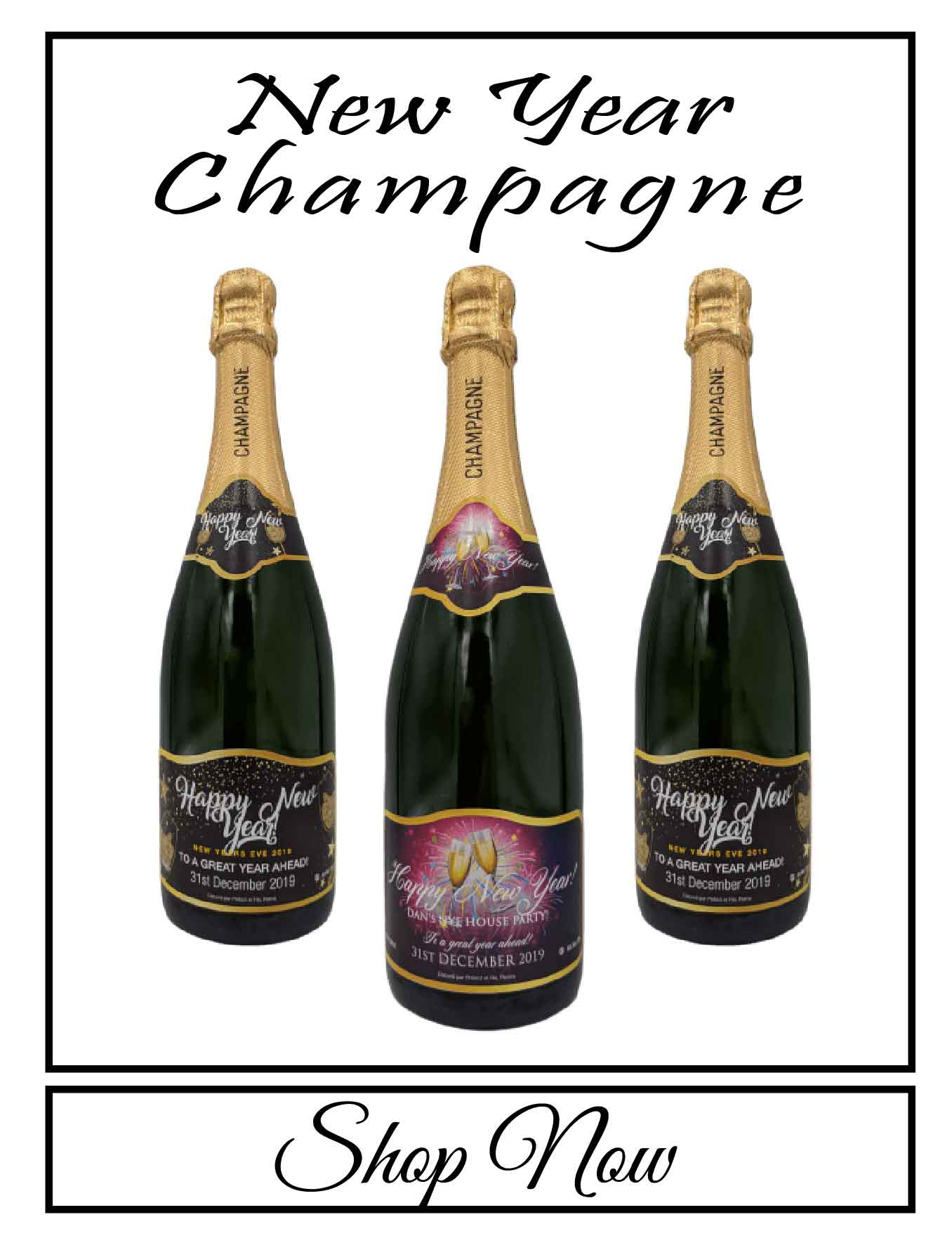 personalised Champagne bottle label delivery uk sparkling wine new year gift present