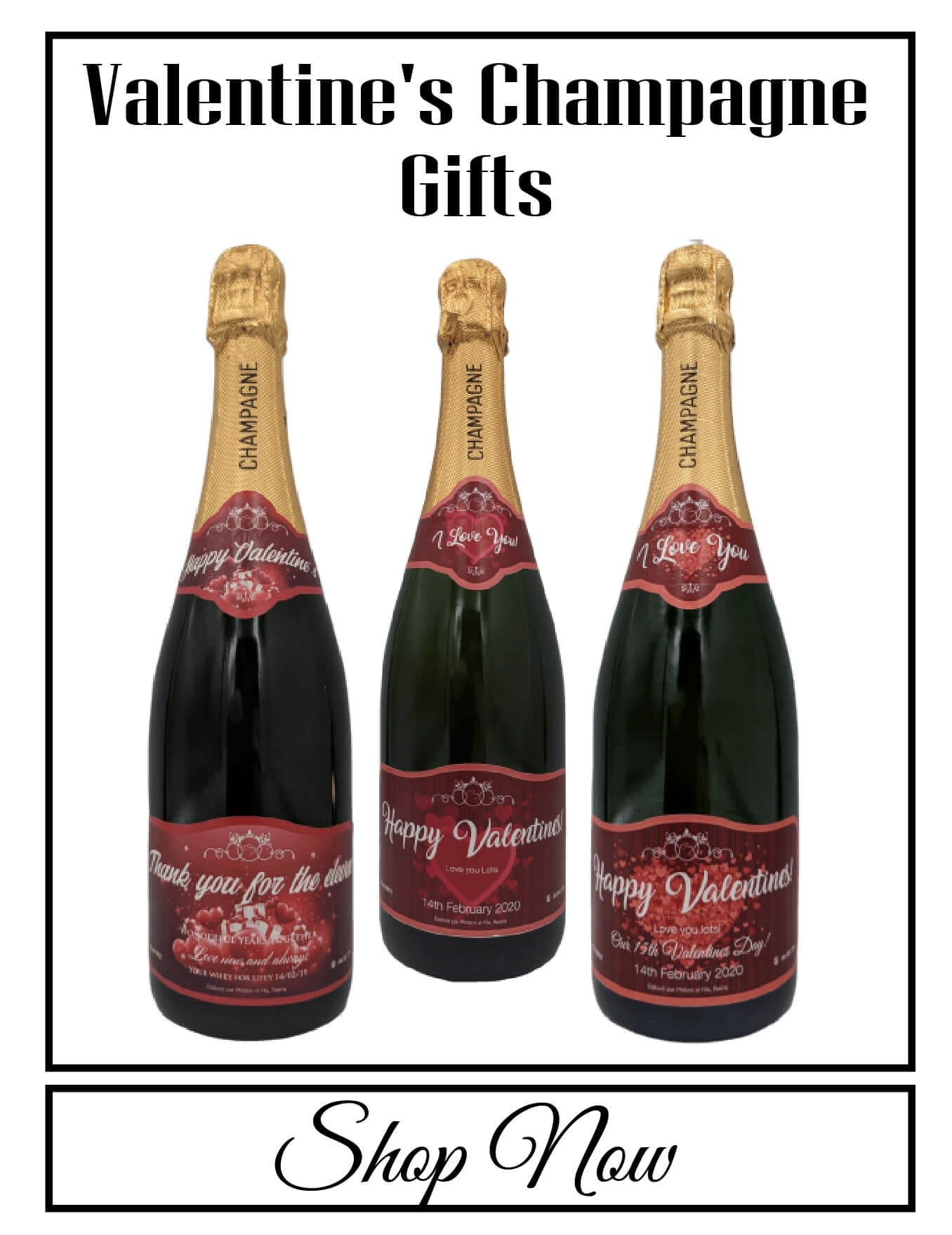 personalised Champagne customised bottle label delivery uk sparkling wine Valentine's love gift present bespoke unique