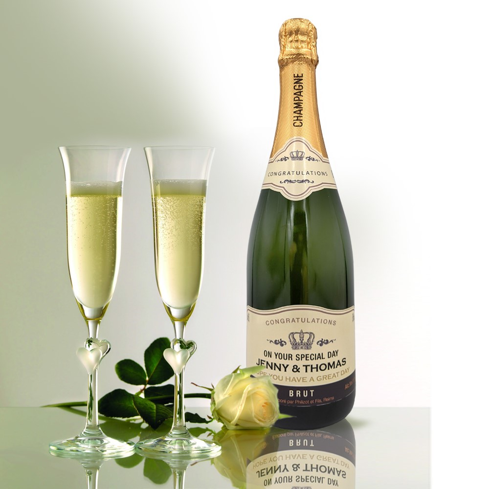 personalised Champagne customised bottle label delivery uk sparkling wine great birthday gift present bespoke unique design