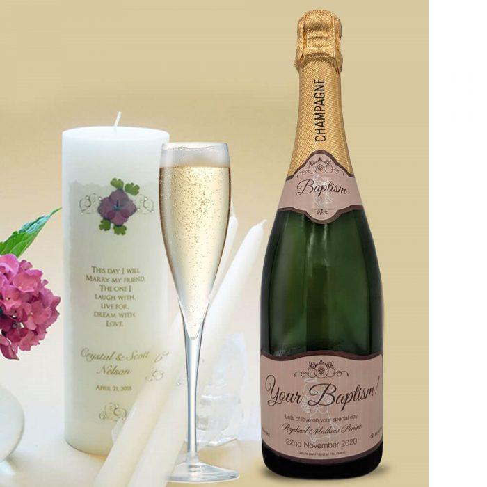 personalised champagne wedding birthday sparkling Catholic Baptism Gifts