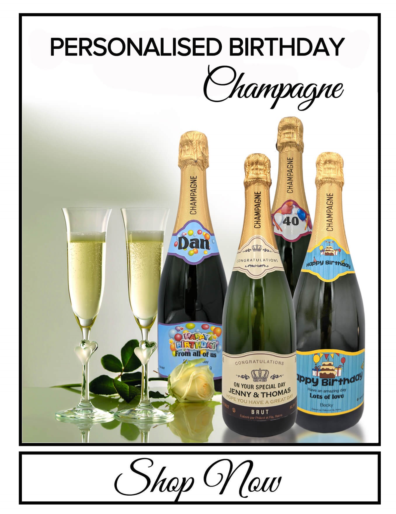 personalised Champagne bottle label delivery uk sparkling wine birthday gift present