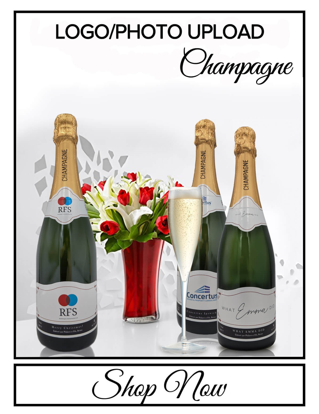 personalised Champagne bottle label delivery uk sparkling winelogo photo gift present