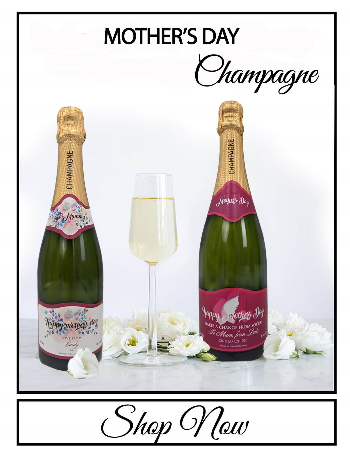 personalised Champagne customised bottle label delivery uk sparkling wine good luck gift present bespoke unique