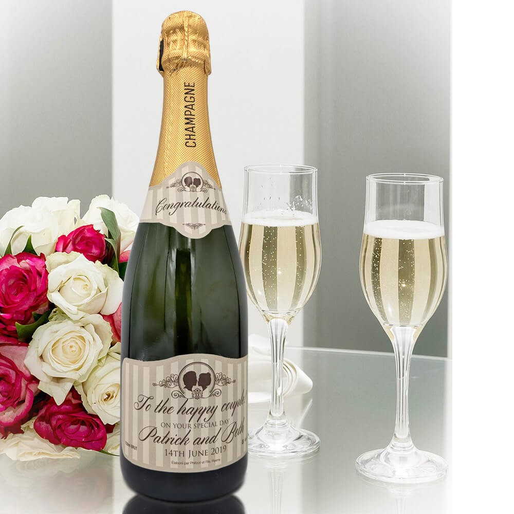 personalised Champagne customised bottle label delivery uk sparkling wine great wedding gift present bespoke unique design