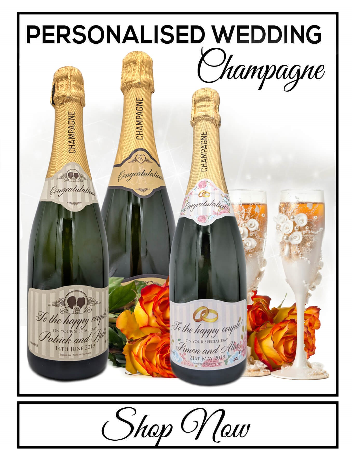 personalised Champagne bottle label delivery uk sparkling wine wedding gift present