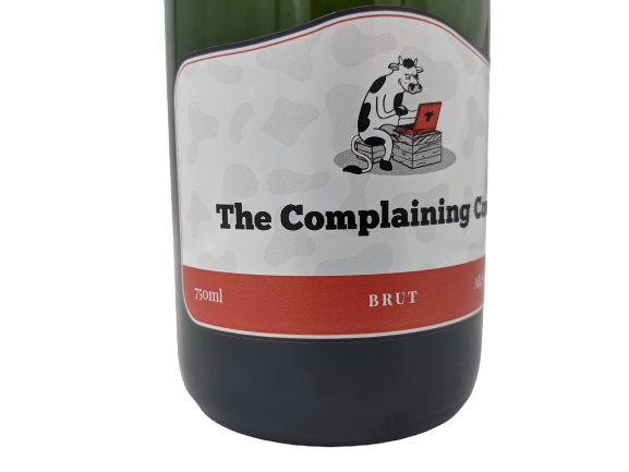 personalised champagne helen dewdney complaining cow