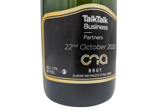 talktalk cna awards personalised champagne corporate gift
