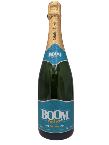 boom radio champagne bottle corporate gift bubbly branded merchandise