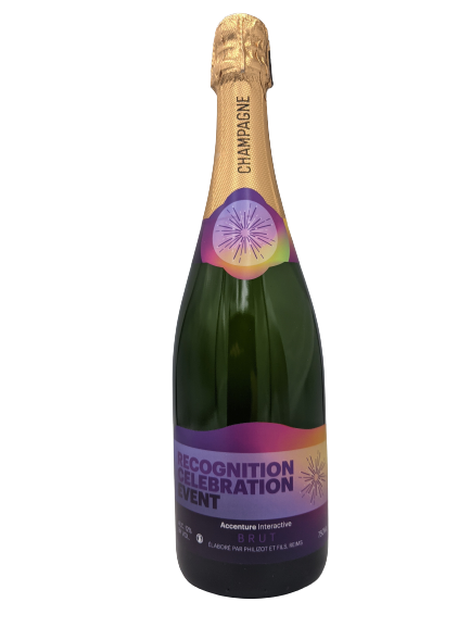 accenture champagne bottle corporate gift bubbly branded merchandise